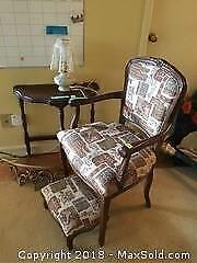 Chair, Table, Lamp