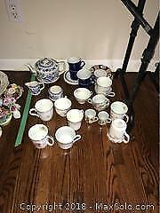 Sadler Teapot and Assorted Cups And Saucers A