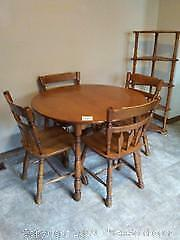 Kitchen table, chairs, & corner shelves