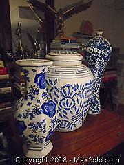 Chinese Blue and White Porcelain Jar and Vases