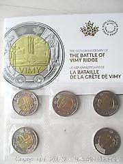 100Th Anniversary Of The Battle Of Vimy Ridge. Royal Canadian Mint, Special Presentation 2 Dollar Currency Coins.