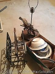 Pottery, Driftwood lamp and metal wooden magazine rack