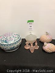 Large lidded bowl, art deco pink glass covered bowl, Silvestri perfume bottles, TOYO quails B