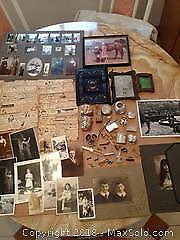 Vintage lot of old photos, postcards, jewelry, sterling silver trinkets.