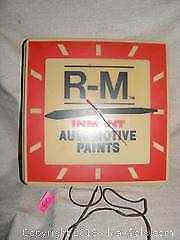 Vintage RM Inmont Auto Paint Advertising Clock
