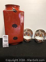Large square vase 2 handpainted teacups B