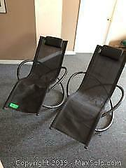 2 Outdoor Collapsible Lounge chair rockers B