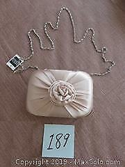 Beige evening bag with optional shoulder chain