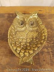 Antique Brass Owl Ashtray