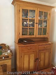 Wooden Rustic Farmhouse Buffet and Hutch C