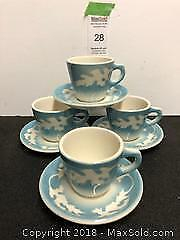 Vintage Syracuse China Blue Oak teacup/saucers B