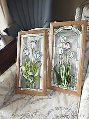 Two Gel Stained Window Panels A