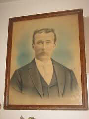 "LARGE ANTIQUE portrait picture VERY OLD Framed glass 21"" X 17"""