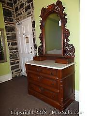 Antique Marble Topped Dresser with Mirror. C