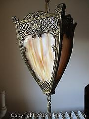 Semi-Antique Slag Glass Four Sided Hanging Lamp.