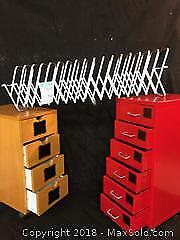 2 Ikea rolling desk drawers, Lee Collator accordion filing system. C