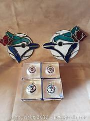 Signed Toronto Blue Jays Stained glass & Jays Collectors 1992 World series win Christmas Ornaments
