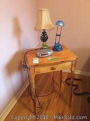 Vintage Rustic Wooden Side Table and Decor B