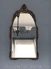 Vintage Fancy Brass Metal Frame Mirror
