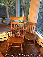 Rocking Chair And Antique Chair - B
