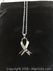 Necklace with WillLand Breast Cancer Ribbon Pendant with Swarovski Crystals