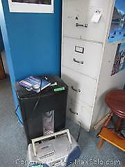 Filing Cabinet, Shredder, and Panasonic CD Player