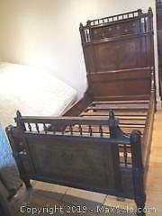 Antique 1850/60's. Solid Wood Single Bed Frame For The Young Prince Or Princess.