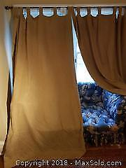 Tan Blackout Curtain Panels with Rod.