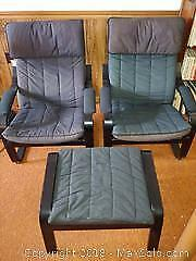 IKEA Poang Chairs And Footstool