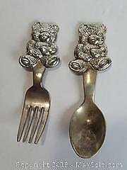 Small (4 inch) fork and spoon set with Teddy bear motif for the toddler in your life