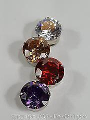 Four Stone Pendant Clear, Orange, Red And Purple