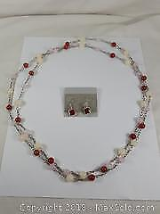 Sterling Earrings And Carnelian Necklace