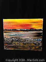 """Andrew Plum signed painting on canvas. Titled """" race against sundown"""""""