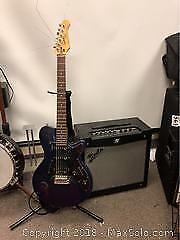 Fender Amp And Godin Electric Guitar With Stand B