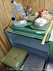 Paper Cutters, File Drawers, Microscope