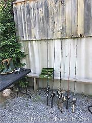 Fishing Poles And Reels, Lures, Tackle Box A