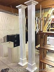 "2 Columns - Solid Pine - 7 1/4"" square x 8ft tall"