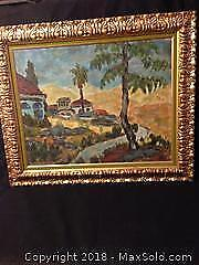 Large impressionist style oil painting on canvas in heavy gold frame. Signed with artists monogram.