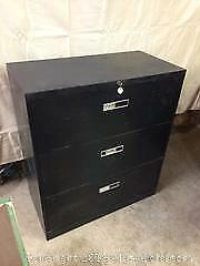 2 Black Filing Cabinets - 4 door office specialty wit lock/key, 3 door lateral 3/ with lock/key