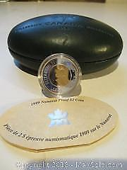 1999 Nunavut Proof $2.00 Coin. LTD Edition Sterling Silver, 92.5% Pure Silver Coin With COA.