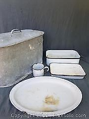 Galvanized Steel Tub with Lid and Enamelware