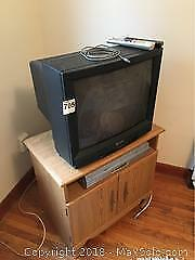TV, VHS DVD Player And Stand