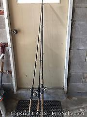 Lot Of Three Fishing Rods And Reels