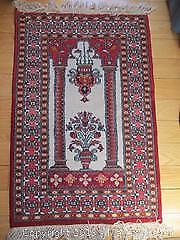 Vintage All Wool. Hand Woven. Persian Prayer Rug With Architectural Motifs.