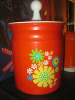 1960's Painted Tin Metal Flour Cannister w/Hippy FLOWERS - $8