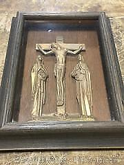 Vintage Wood Framed Shadow Box - Depiction if Crucifixion