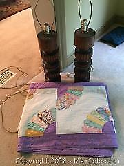 Vintage Quilt And Lamps B