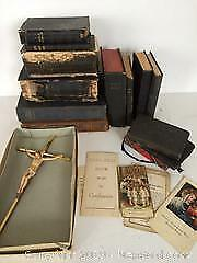 Lot of Antique and Vintage Bibles and Religious Items