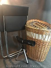 Wicker Laundry, Folding Chairs And Telescope
