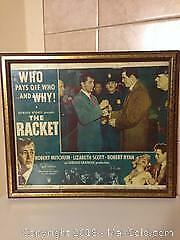 Assorted framed original movie poster lobby cards and old magazine covers.